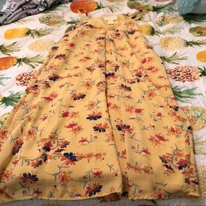 Yellow shift floral dress